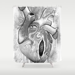 Hurting Heart b&w Shower Curtain