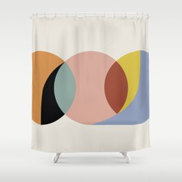 Geometric Harmony - Vintage Rainbow Colors Shower Curtain
