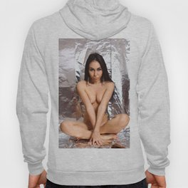 Cute nude girl posing naked on silver background. Hoody