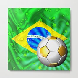 Brazil Flag Gold Green and Soccer Ball Metal Print