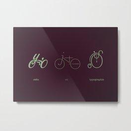 Vélos en Typographie Metal Print
