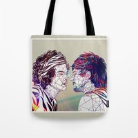 larry Tote Bags featuring Geometric Larry by Peek At My Dreams