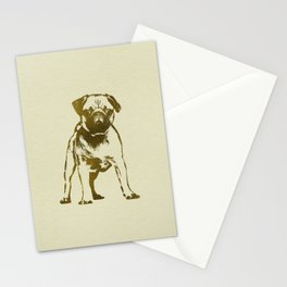 Pug Puppy sketch on canvas with gold accents Stationery Cards
