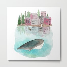 A whale is passing by Metal Print