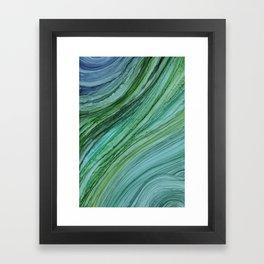 Green Agate Geode Slice Framed Art Print