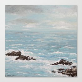 """Rocky Shore"" Turquoise Seascape Ocean Painting Canvas Print"