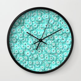 Teal daisy flowers Wall Clock