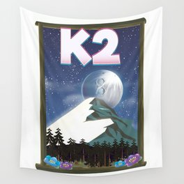 K2 Mountain travel poster Wall Tapestry