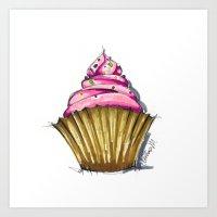 cupcake Art Prints featuring Cupcake by Svitlana M