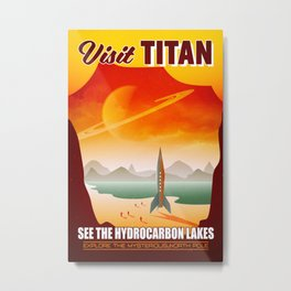 Visit Titan Space Travel Illustration Metal Print