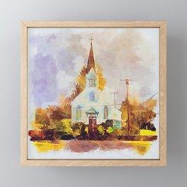 St.Joseph Church Tillamook, Oregon - Digital Watercolor Framed Mini Art Print