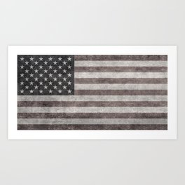 USA flag on hand painted canvas texture Art Print
