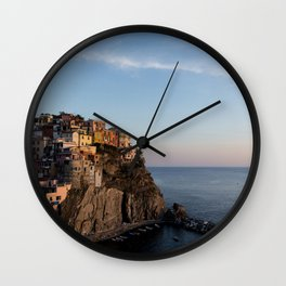 Manarola,Italy at Sunset Wall Clock