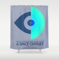 2001 Shower Curtains featuring Stanley Kubrick - 2001: A Space Odessey by MathiasLaustrup