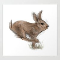 hare Art Prints featuring Hare by Mr Patch