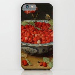 "Jacob van Hulsdonck ""Wild Strawberries and a Carnation in a Wan-Li Bowl"" iPhone Case"