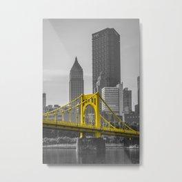 Pittsburgh Clemente Bridge Gold Print Metal Print