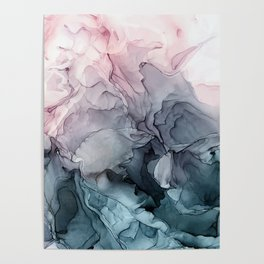 Blush and Paynes Gray Flowing Abstract Reflect Poster