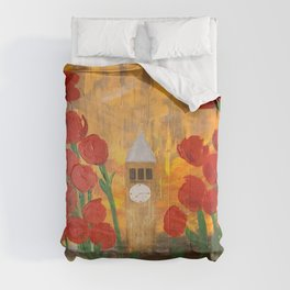 150 Years of CU - An Alumni Anniversary Tribute with Red Tulip Flowers Comforters