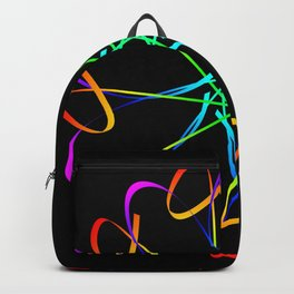 Guilloche yellow and galactic signs. Four neon objects for a certificate or a voucher. Backpack