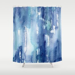 Blue vibes #2 || watercolor Shower Curtain