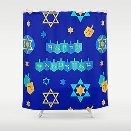 Happy Hanukkah Banner with Star of David Pattern Shower Curtain