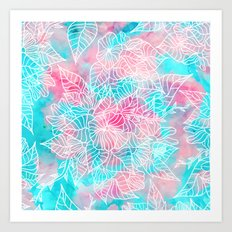Modern summer white hand drawn floral pattern pink turquoise watercolor Art Print
