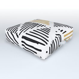 Simple Geometric Zig Zag Pattern - Black Gold White - Mix & Match with Simplicity of life Outdoor Floor Cushion