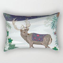 Folk Deer and Owl Rectangular Pillow