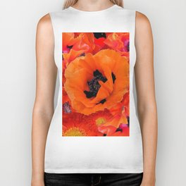 DECORATIVE ORANGE POPPY FLOWERS COMPOSITION Biker Tank
