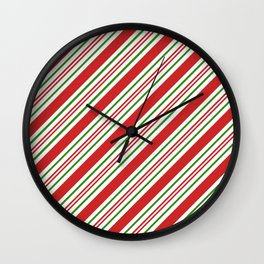 Red Green and White Candy Cane Stripes Thick and Thin Angled Lines Wall Clock