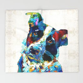 Colorful Dog Art - Irresistible - By Sharon Cummings Throw Blanket