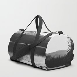 Wild Mountain Sunrise - Black and White Nature Photography Duffle Bag