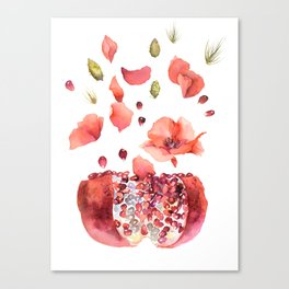 My heart is full of flowers / pomegranate and poppies Canvas Print