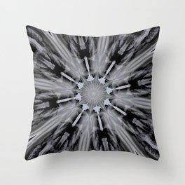 Black White Mandala Kaleidoscope - Abstract Art by Fluid Nature Throw Pillow