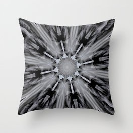 Black White Mandala Kaleidoscope - Abstract Art by Fluid Nature Throw Pillow