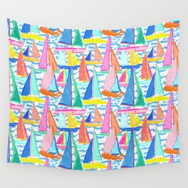 Painterly Sailboat Regatta in White Wall Tapestry