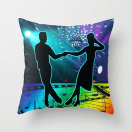 Swing Dancers With Stage Lights And Music Symbols Throw Pillow