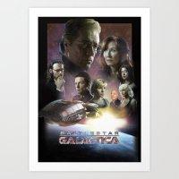 battlestar galactica Art Prints featuring BATTLESTAR GALACTICA POSTER by tanman1