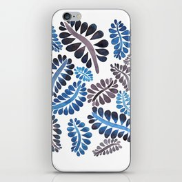 Blue leaves pattern iPhone Skin