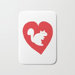 White Squirrel Heart Bath Mat