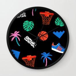DITL - memphis art print, retro art print, wacka designs, basketball, socal art print, 80s Wall Clock