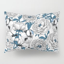 White peonies and blue tit birds Pillow Sham
