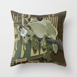Frog & Coffee by Paulo Coruja Throw Pillow
