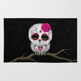 Adorable Pink Day of the Dead Sugar Skull Owl Rug