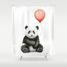 Panda and Red Balloon Baby Animals Watercolor Shower Curtain