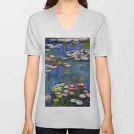 Claude Monet Water Lilies III Unisex V-Neck