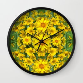 YELLOW COREOPSIS FLOWERS GREEN GARDEN Wall Clock