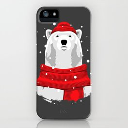 Polar bear in red hat and scarf iPhone Case
