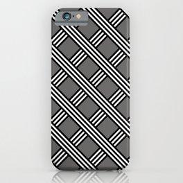 Pantone Pewter, Black & White Diagonal Stripes Lattice Pattern iPhone Case